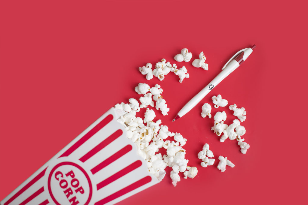 Javalina Classic promotional plastic pen with theater popcorn
