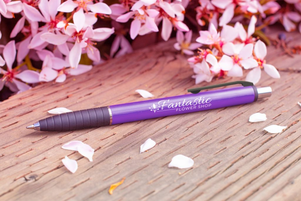 Turaco purple pen with purple flowers (#377)