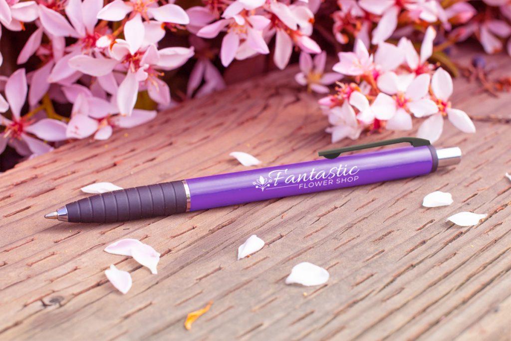 Turaco purple pen with purple flowers (#377)