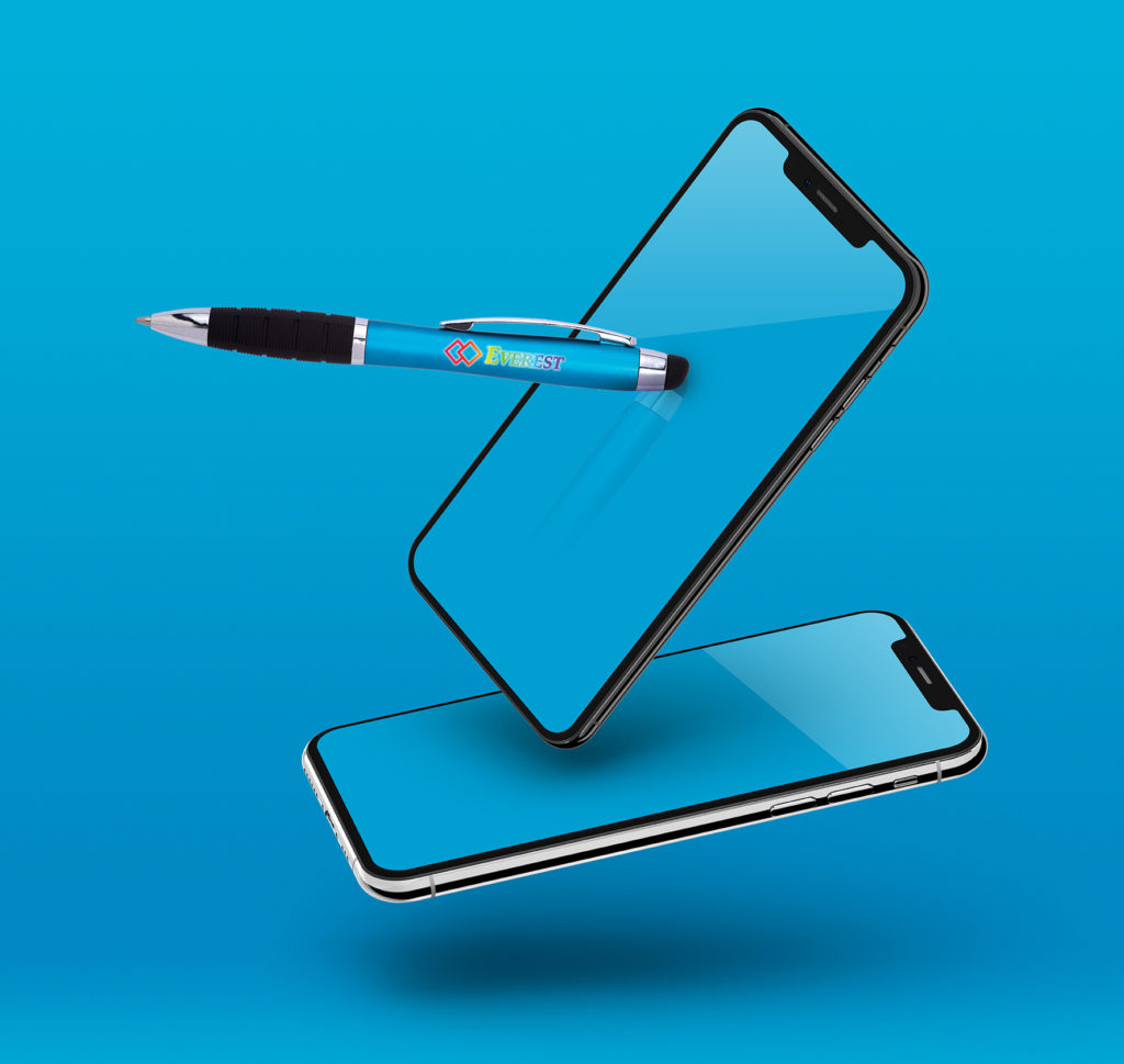 Eclaire Bright Stylus Pen with floating cell phones