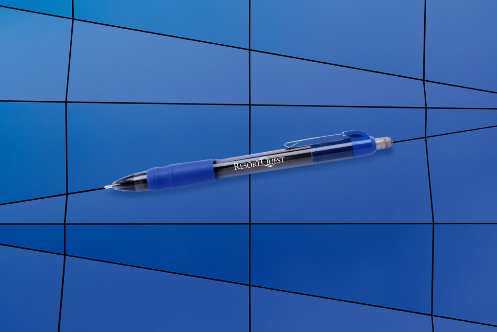 MaxGlide Corporate blue promotional pen on a blue mosaic background