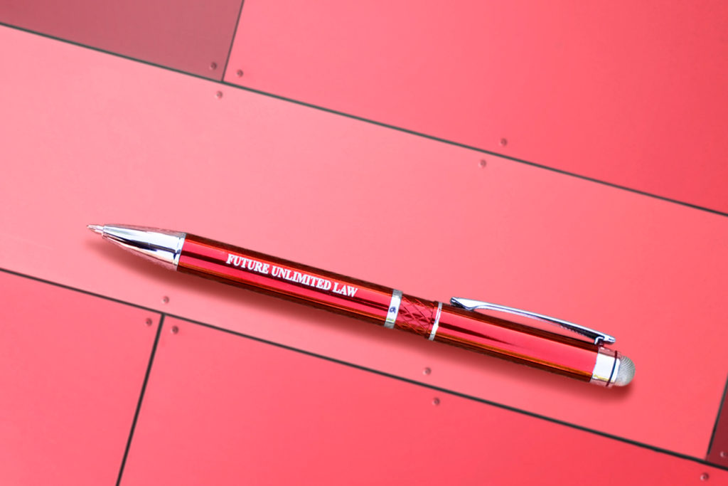 Red Farella Stylus pen on a red metal background