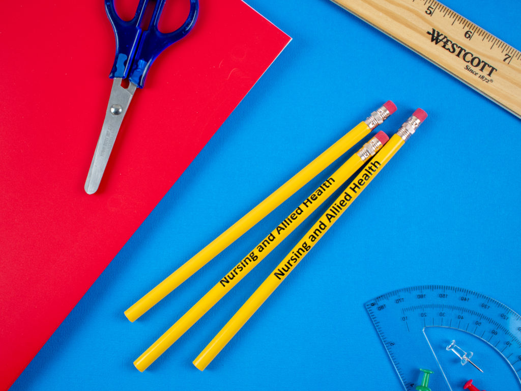 3202 Yellow Foreman No. 2 promotional pencil with a back to school theme