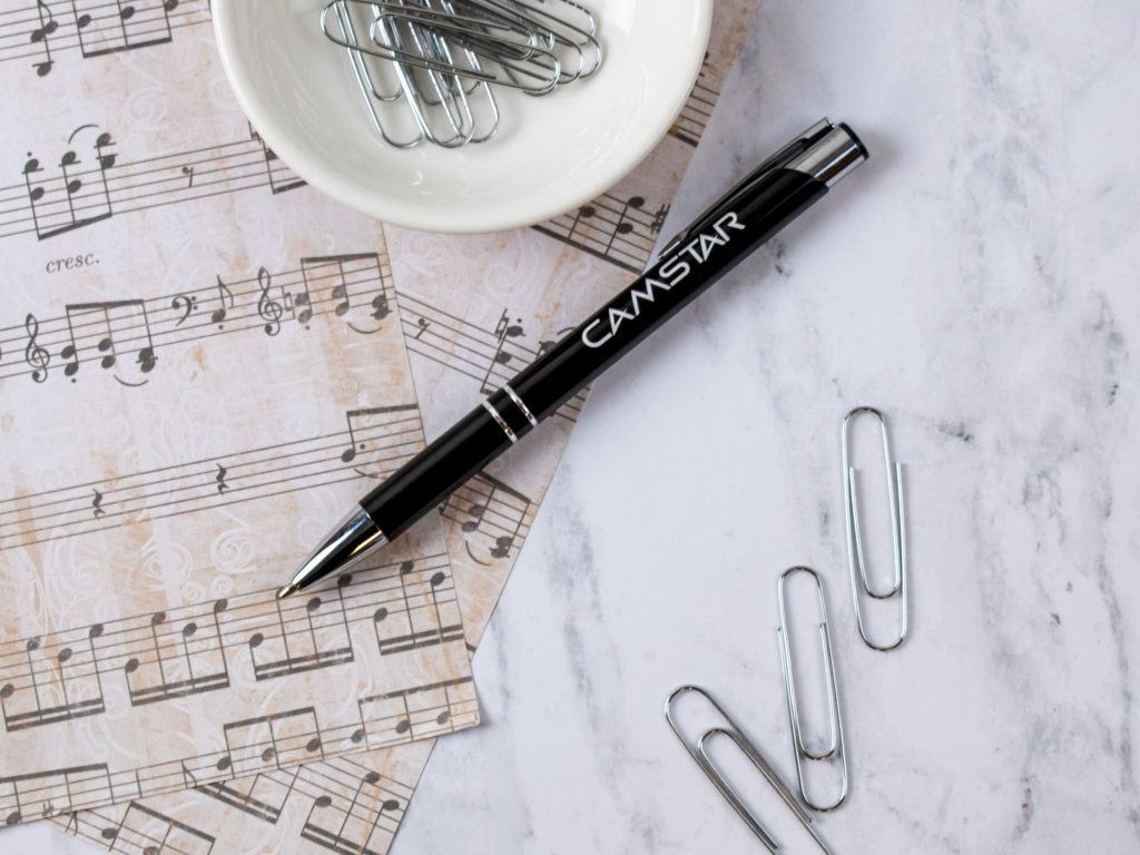 Sonata Glass metal pen with sheets of music