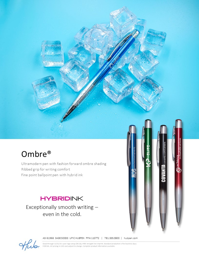 Ombre pen with hybrid ink works great in cold weather