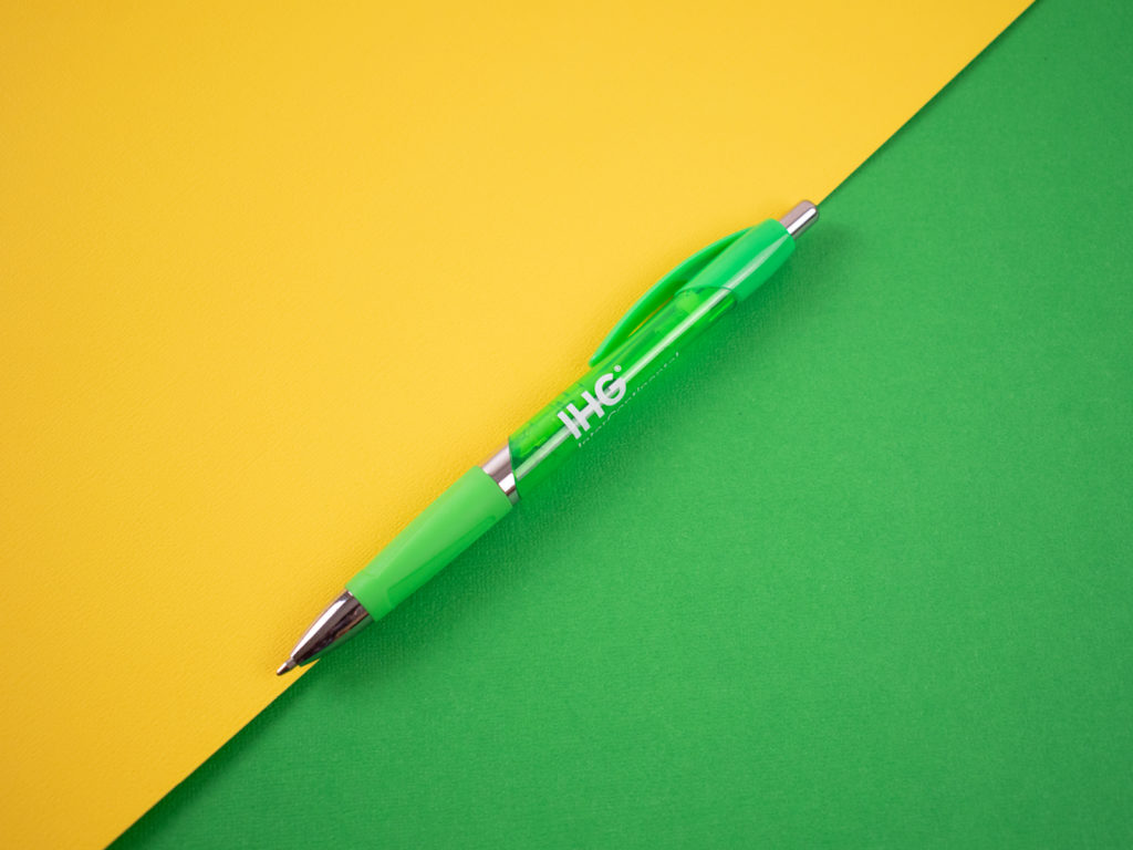 Gassetto is striking solid, translucent, and chrome accents. Shapely comfort grip for writing ease