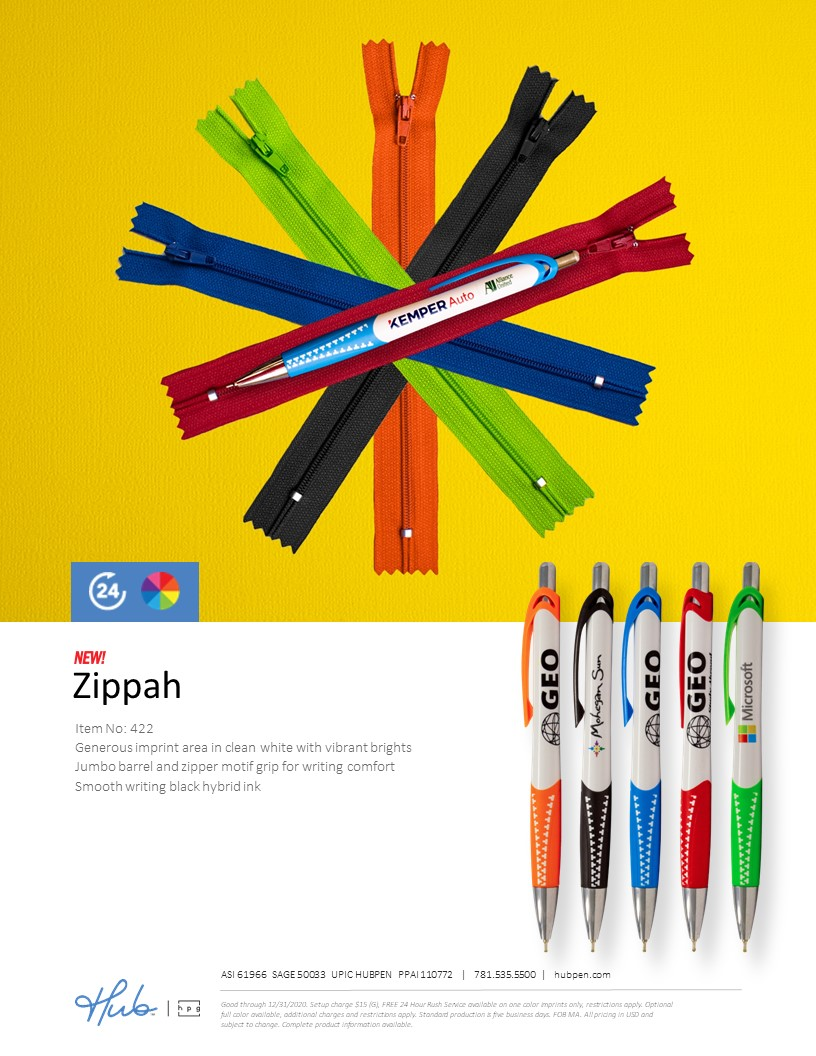 New Zippah Pen (Hub branded)