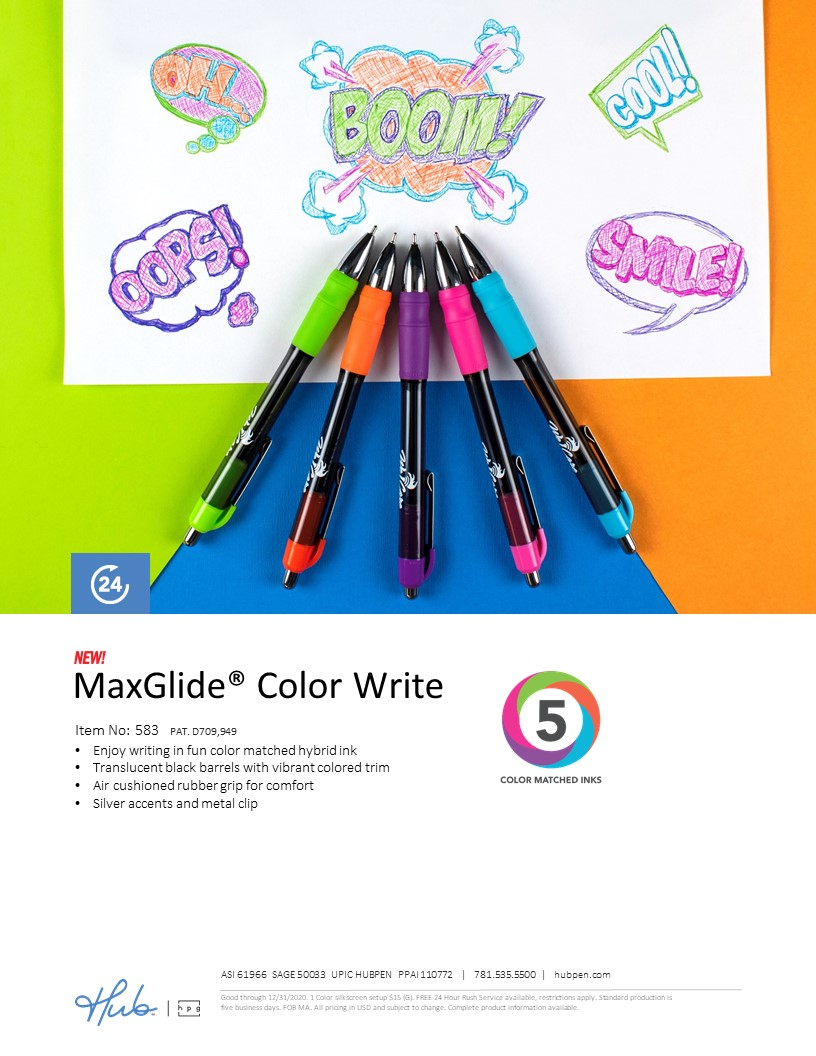 The NEW MaxGlide Color Write pen with color matched ink