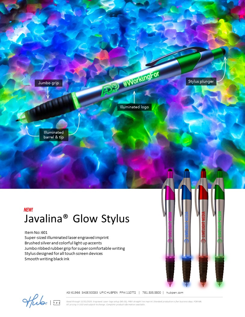The NEW Javalina Glow Stylus pen with illuminated logo and tip