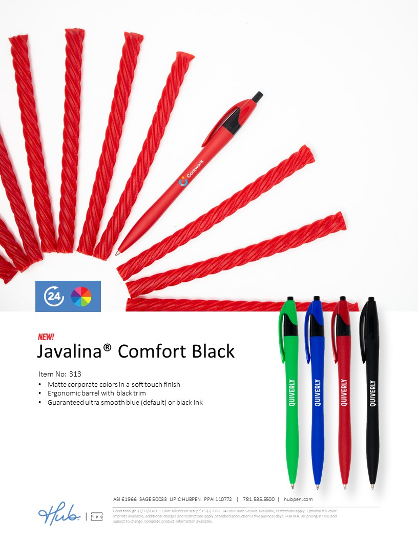The New Javalina Comfort Black promotional pen
