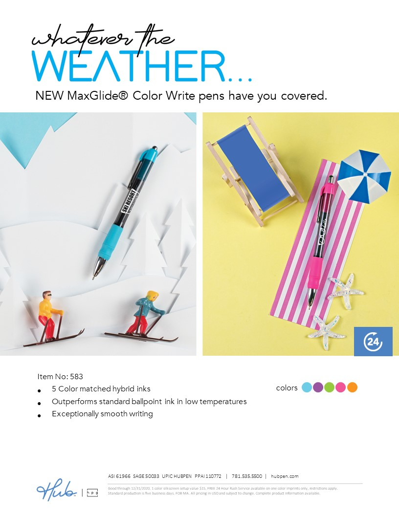 Whatever the weather use the MaxGlide Color Write pen with hybrid ink