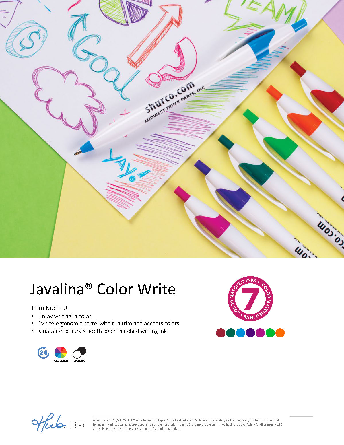 The NEW Javalina Comfort Write pen with a soft touch finish and color matched ink