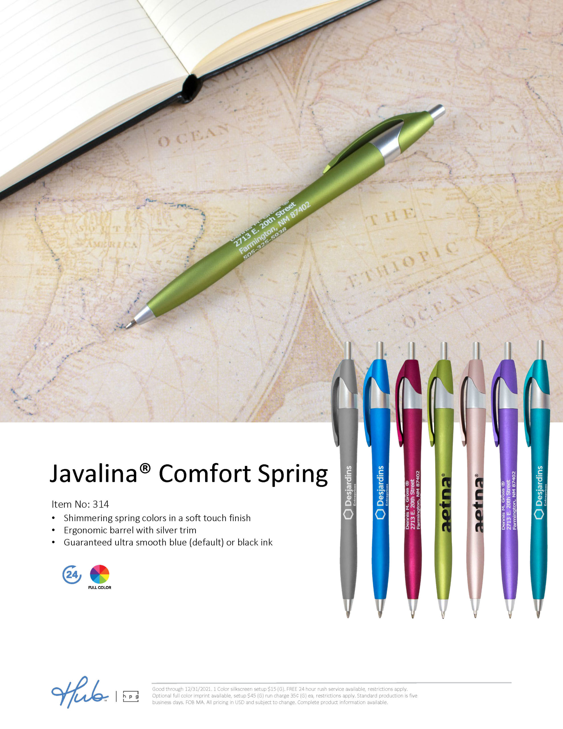 The NEW Javalina Comfort Spring pen with a soft touch finish