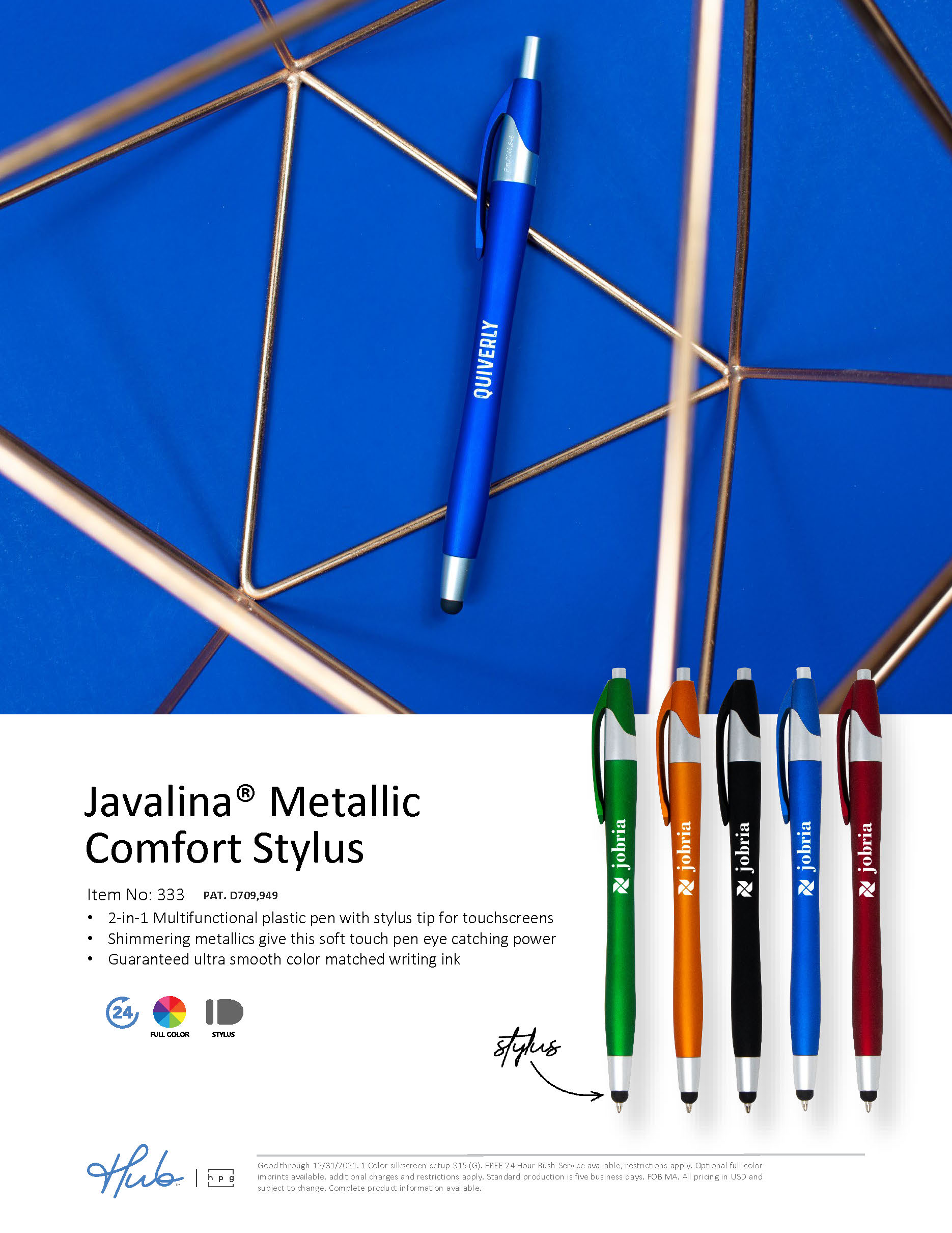 The NEW Javalina Metallic Comfort Stylus pen with a soft touch finish