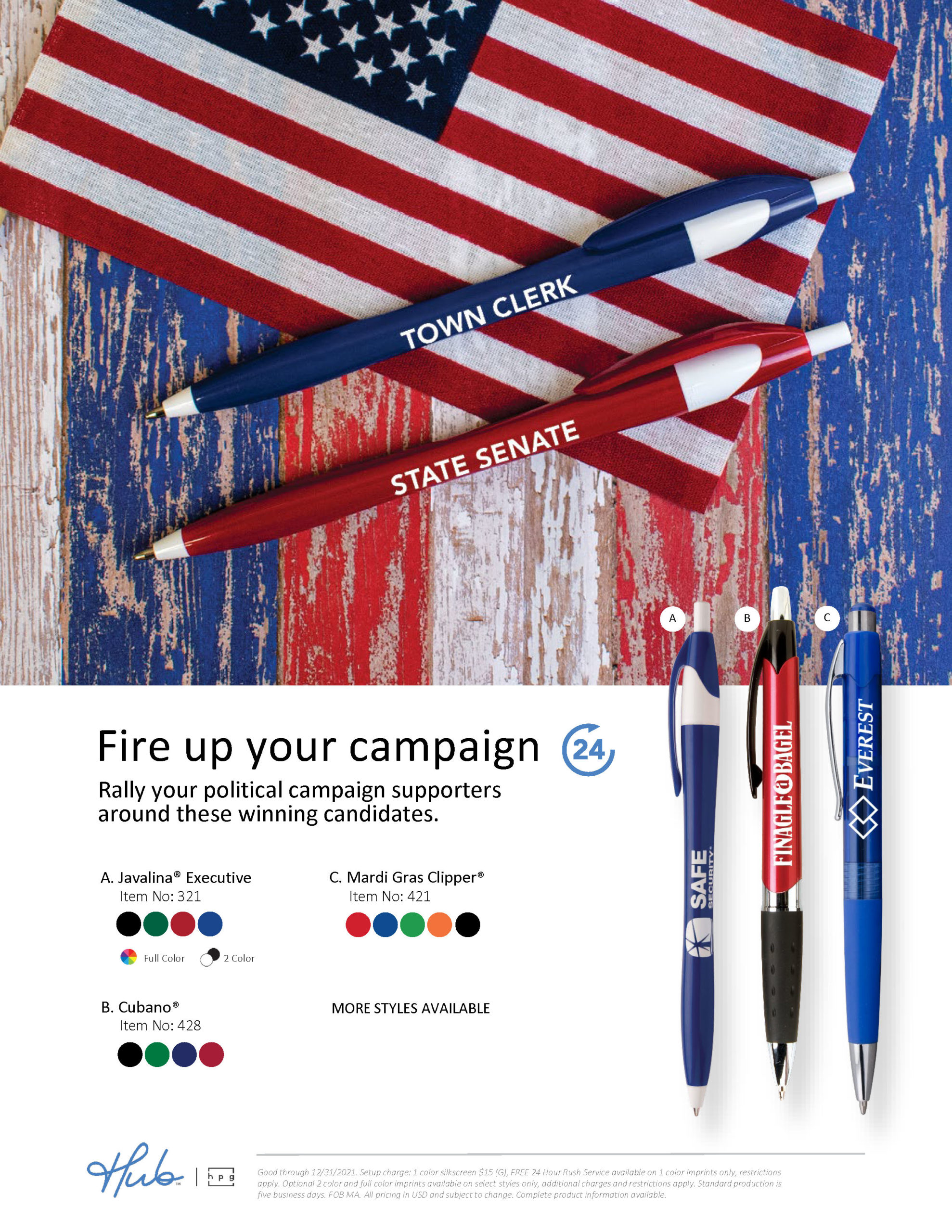 Political Campaign Pens (Hub branded)